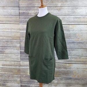 Zara Olive Green Sweatshirt Dress